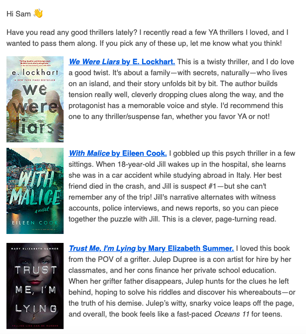 TEA - Author newsletter examples - Diana Urban newsletter.png