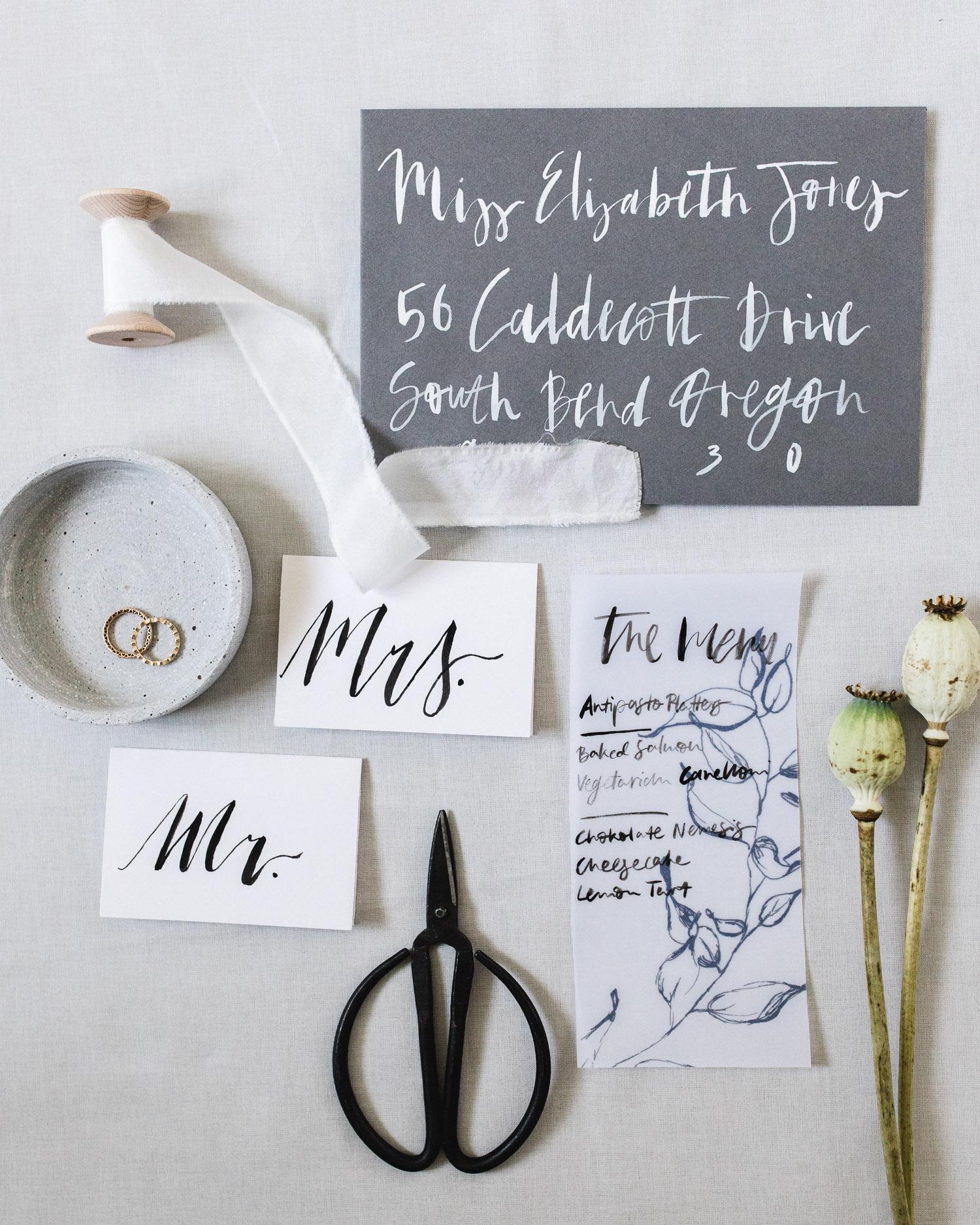 Light grey minimal wedding stationery by Viviane Lenders