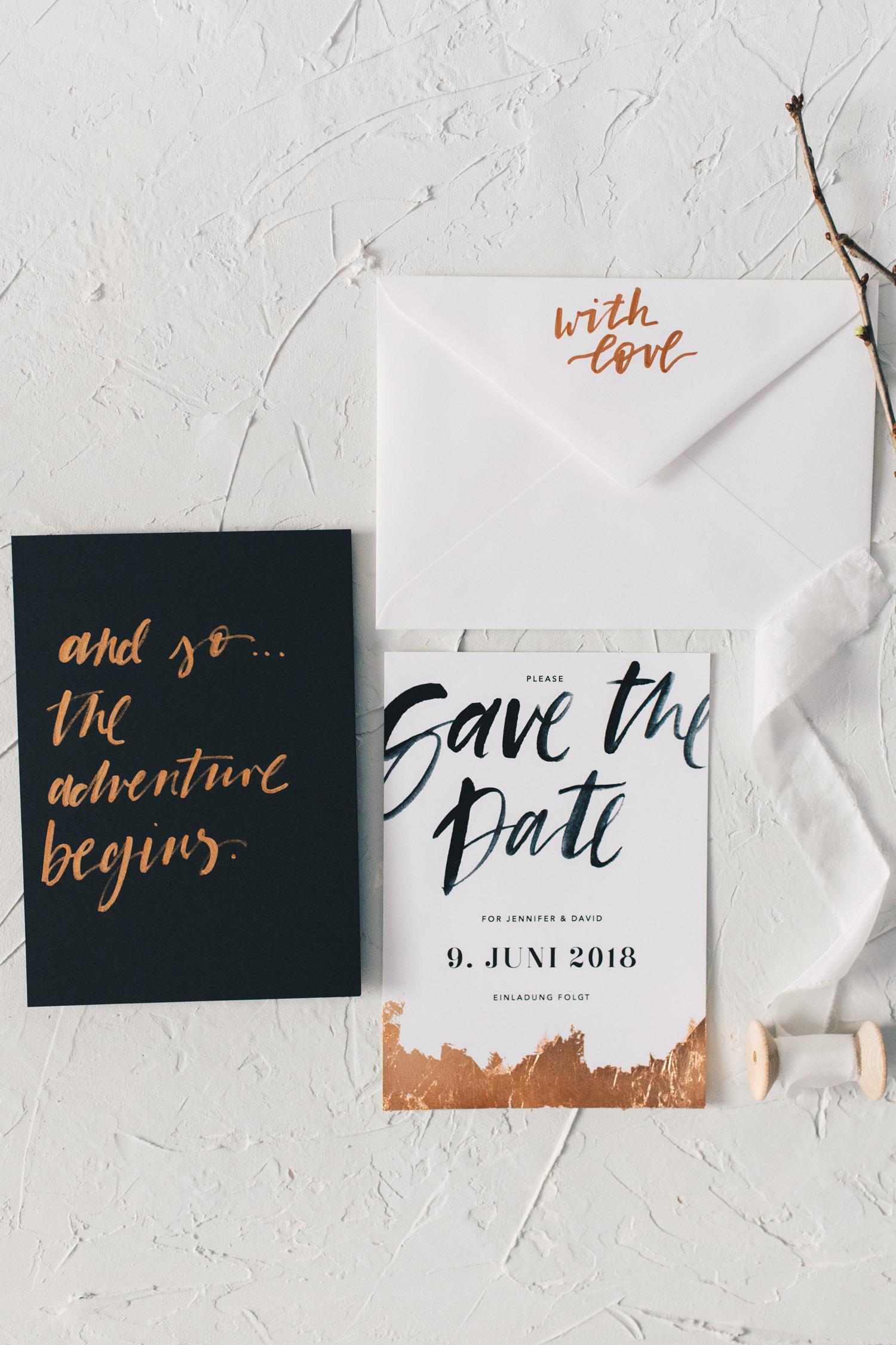 Hochzeitspapeterie, minimal, Kupfer, Lettering - Viviane Lenders Design