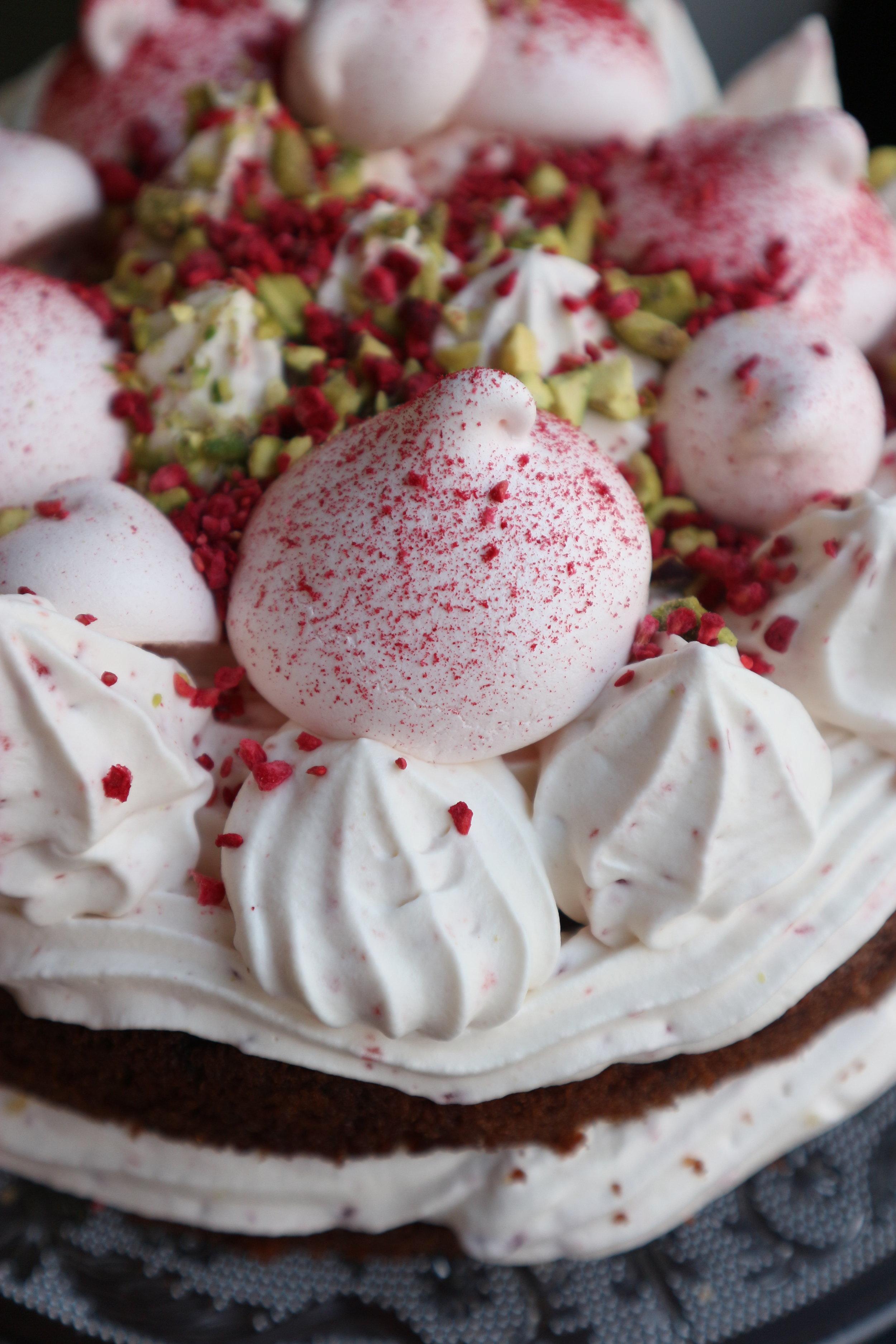 Delish Melish Pistachio, raspberry and rose cake
