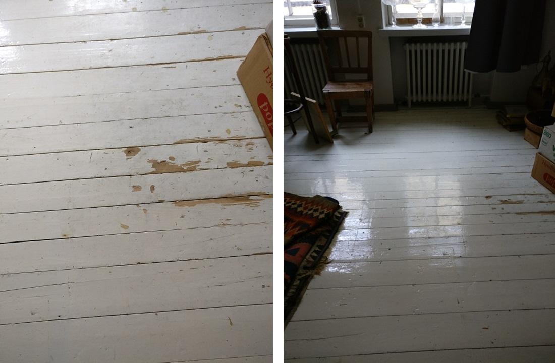 Yhdessä huoneessa oli jo entuudestaan valkoinen lautalattia. Huone tuntui monin verroin valoisemmalta muihin verrattuna.