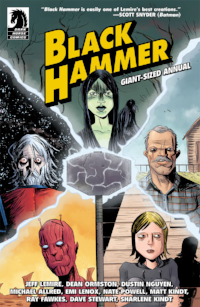 Mark's pick this week is the annual of Black Hammer.  Officially,  Black Hammer Giant-Sized Annual #1.  Mindy hasn't finished reading the comics, but would probably go along with this one.