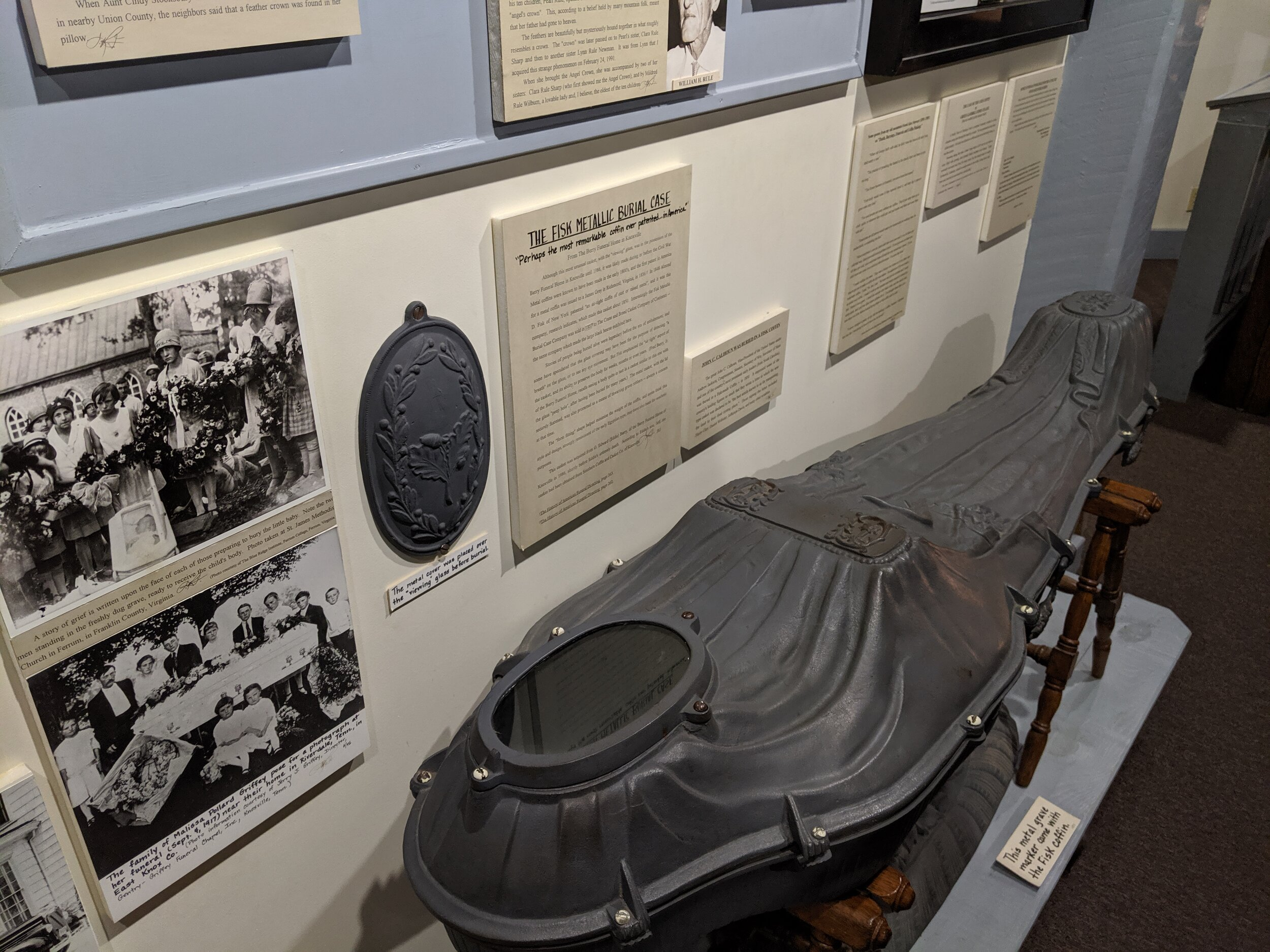 Here's a creepy metal coffin—the plate above goes over the face hole.