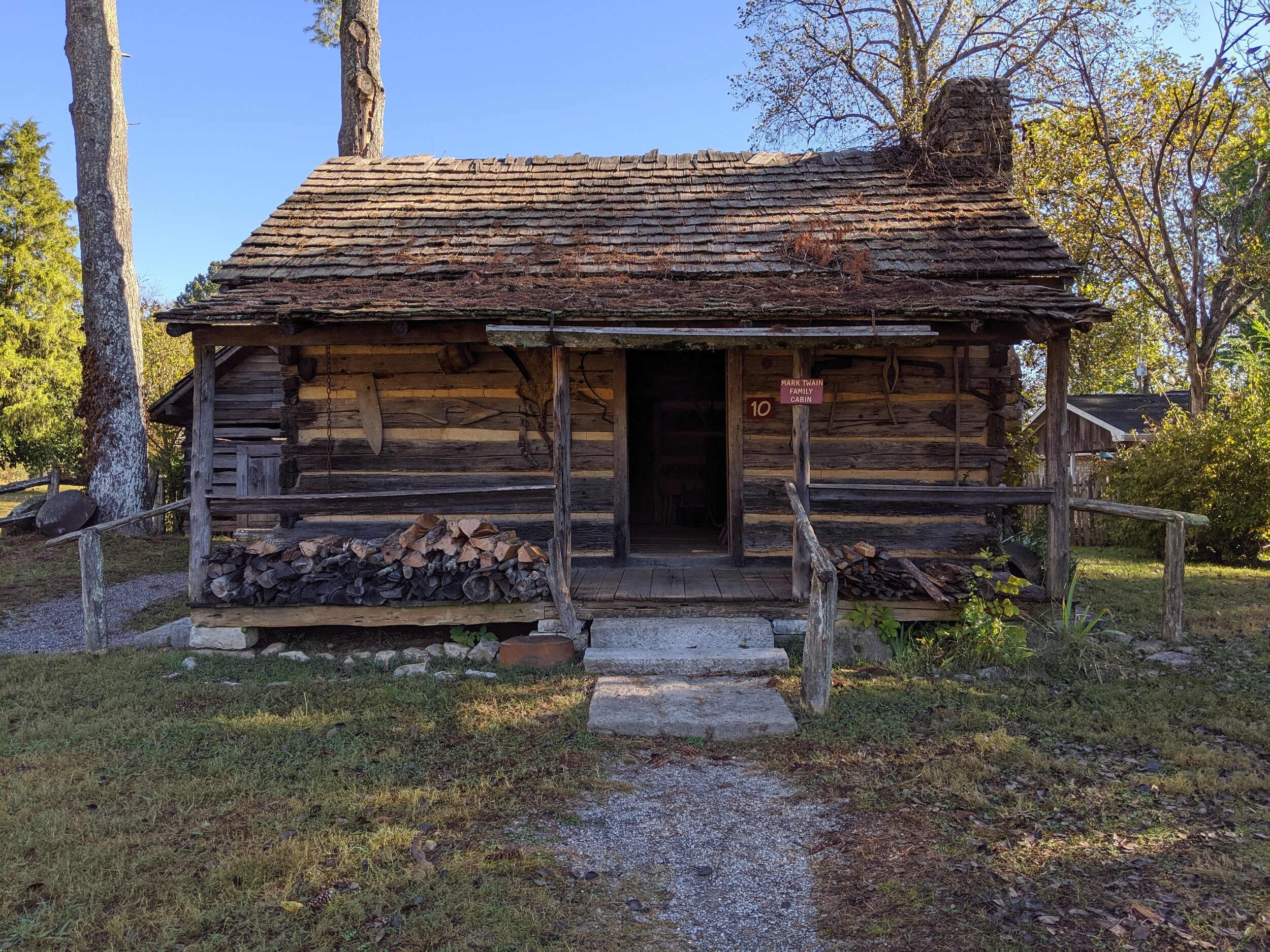 They moved this cabin from the spot where Mark Twain was apparently conceived (but never lived).
