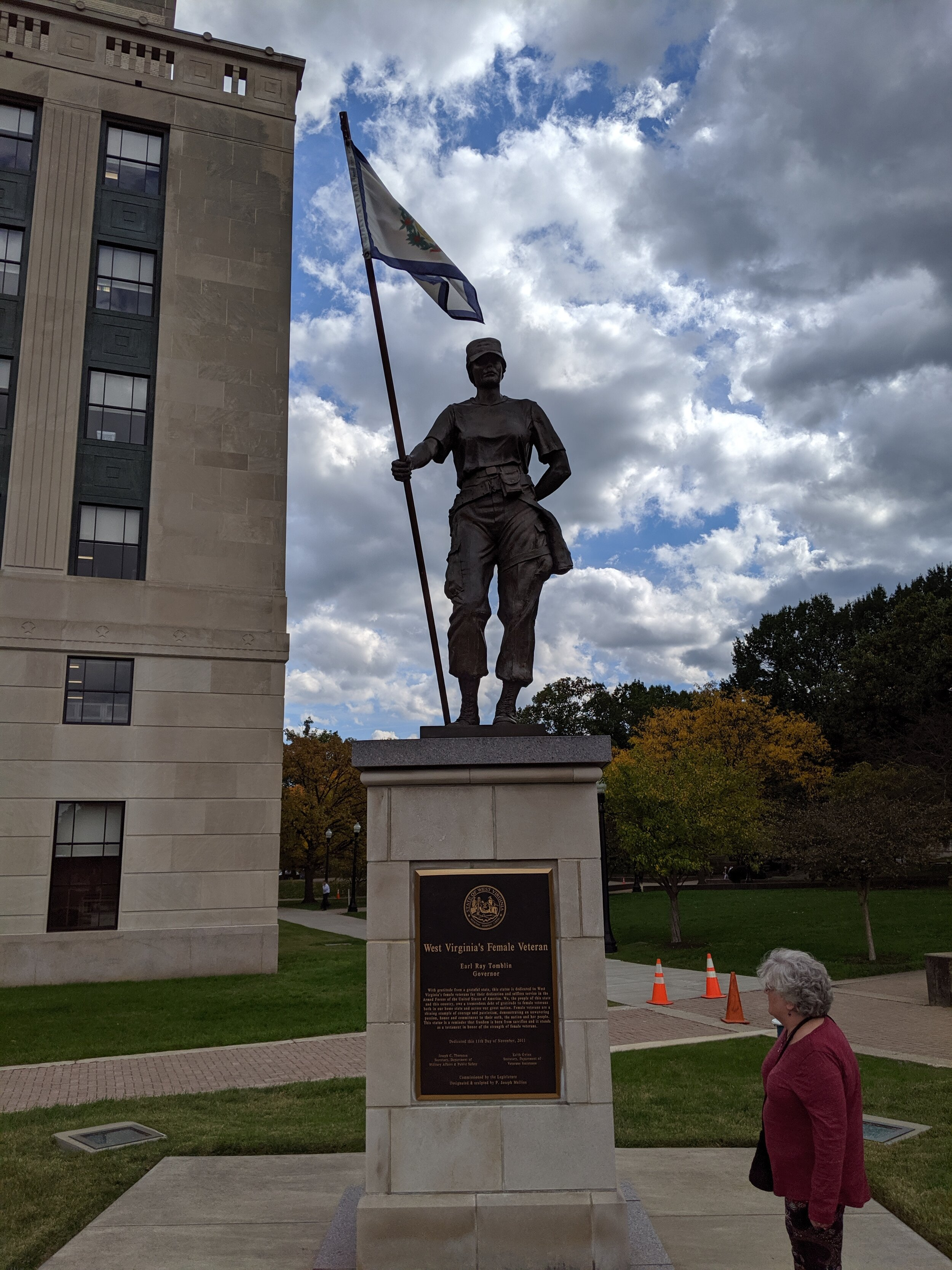 Next to the prerequisite veterans' statues is one celebrating women vets. Mindy noted that the names of those responsible for getting it in place were all men…