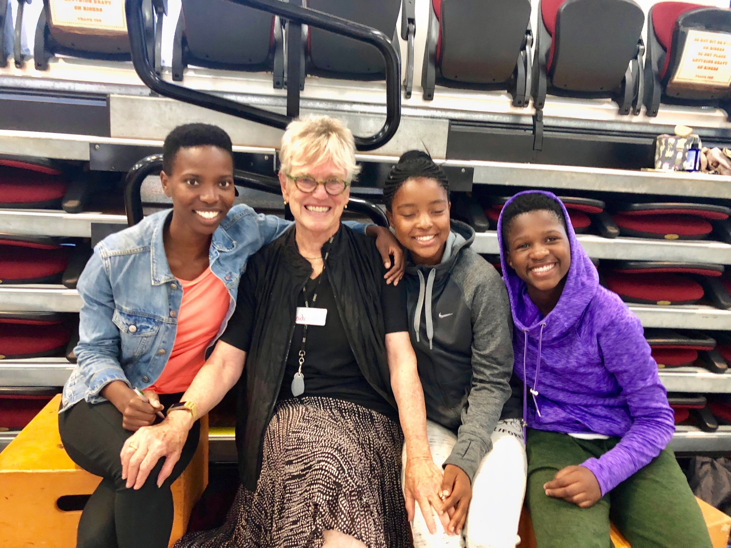 Olwethu with ODC Founder and Artistic Director Brenda Way and fellow 2018 Project Relevé recipients Linathi Louw and Thimna Ndwe.