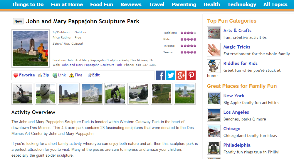 Profiles of attractions throughout the United States for Tipspoke (formerly FamilyZip), a website dedicated to family-friendly activities.