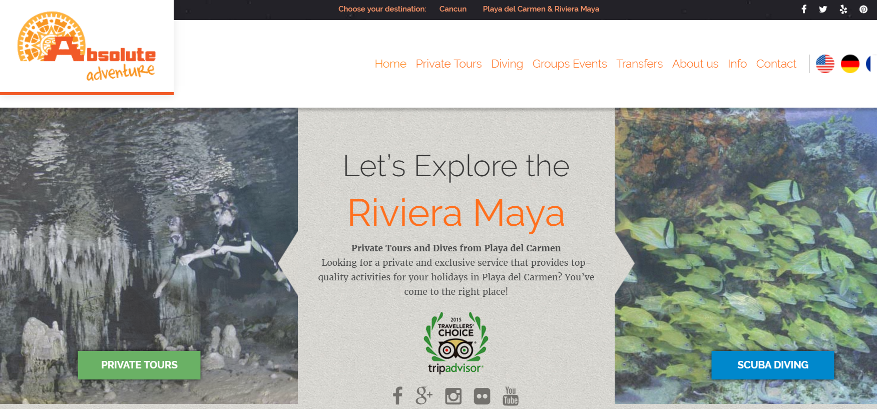 Website and email content for Absolute Adventure Mexico, a tourism business based in Playa del Carmen, Mexico.
