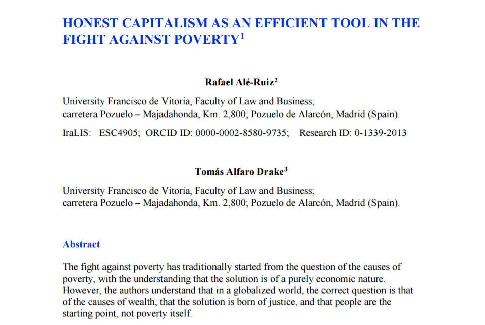 """ES>EN translation of """"Honest capitalism as an efficient tool in the fight against poverty"""", an academic article by Rafael Alé Ruiz and Tomás Alfaro Drake of University Francisco de Vitoria. (Click image to access article.)"""
