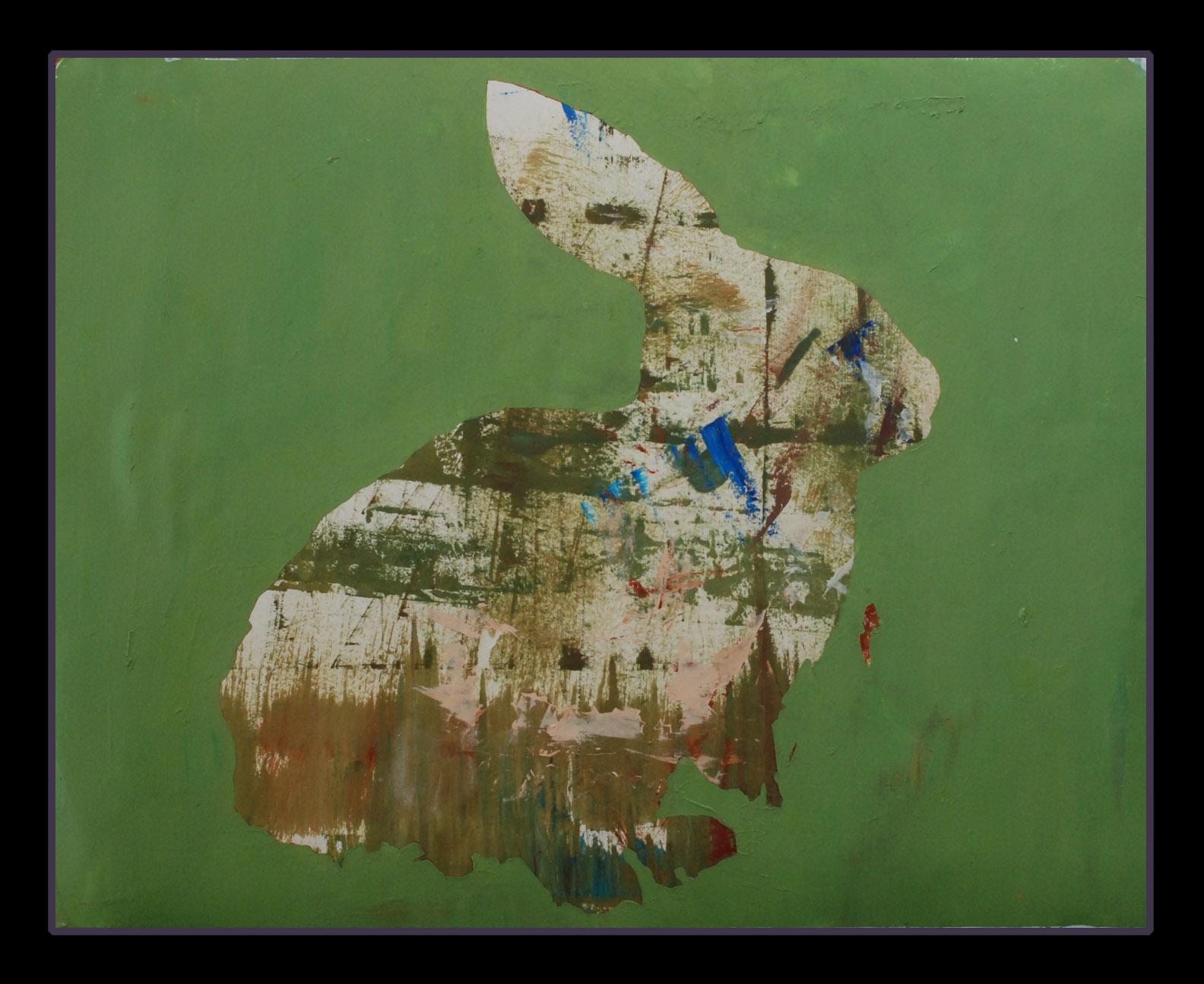"Bunny=Beginning , 19""x24"" mixed media on paper, 2015"