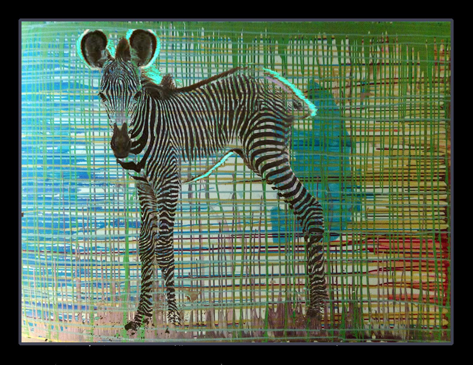 zebra=zipper, 40x60 oil on board, 2015