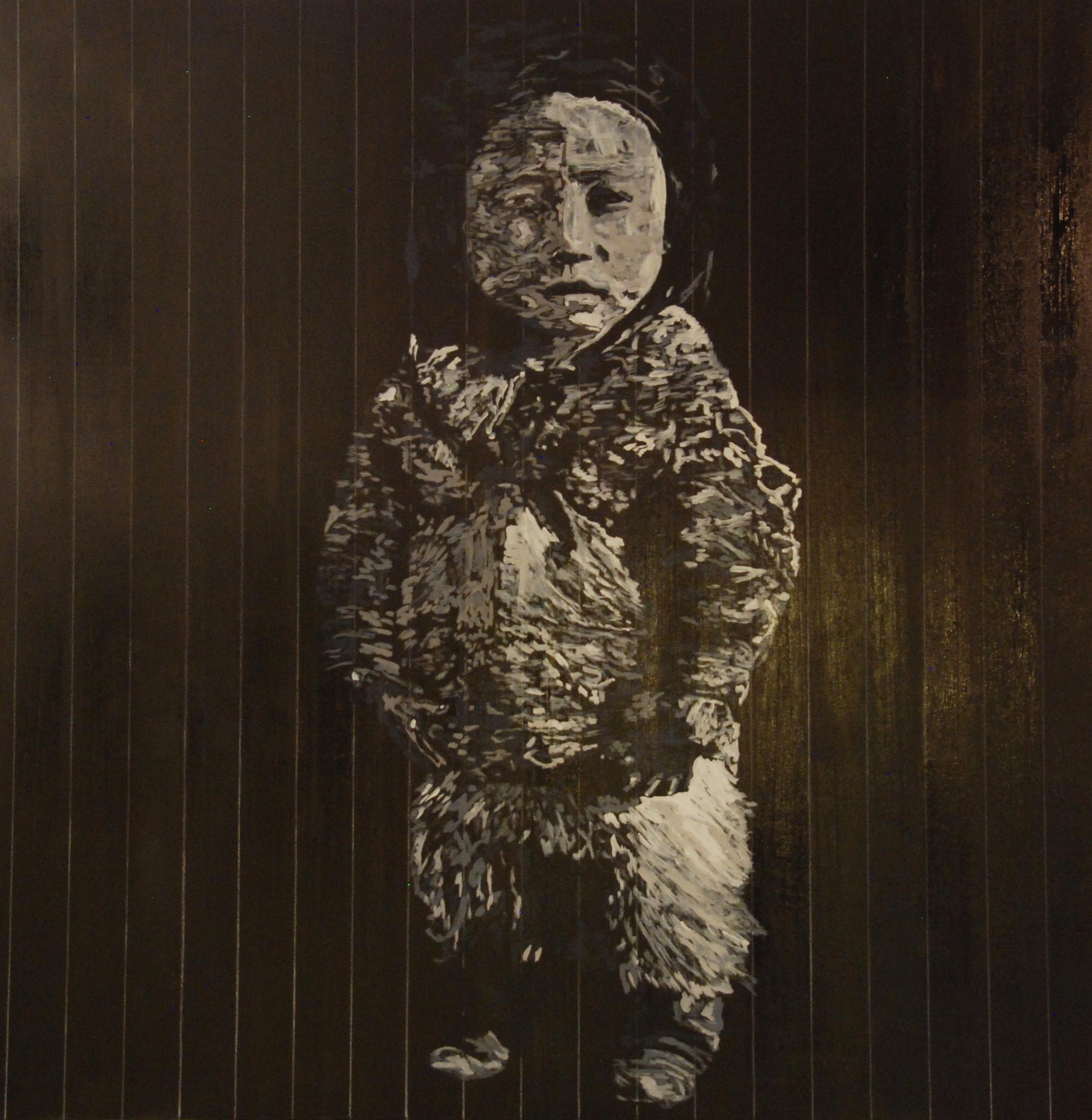"""Eskimo Girl, 48""""x48"""" acrylic on panel 2016"""