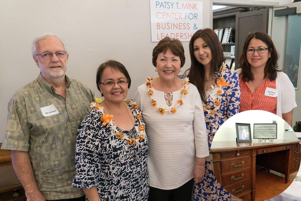 Jim and Joan Manke, Senator Michelle Kidani, Terri Funakoshi (MCBL Director) and Jeannine Souki (YWCA Oahu board member) in front of the desk belonging to the late Congresswoman Patsy T. Mink.