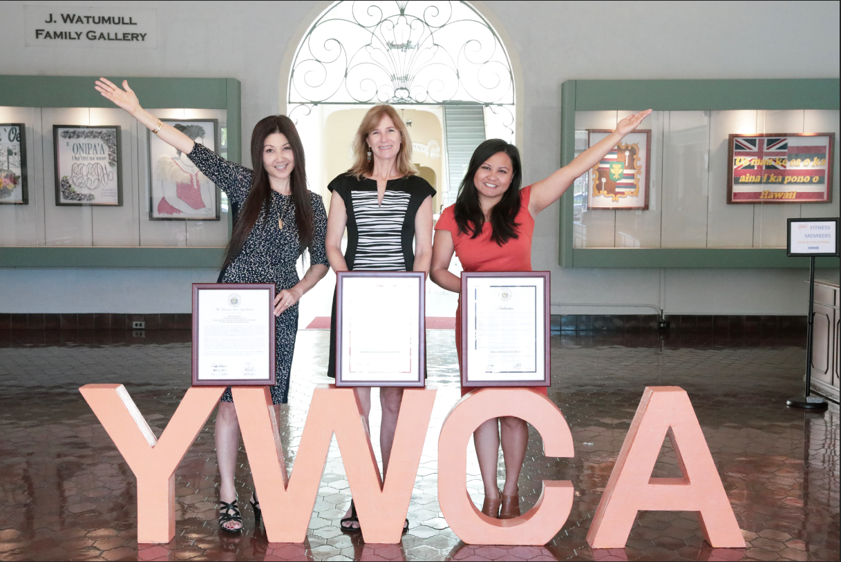 Celebrating the years awards & recognitions. Pictured: Terri Funakoshi, Director Business Development & Operations, Colleen McAluney, Director MCBL, Brittany Montilliano, Program Coordinator.