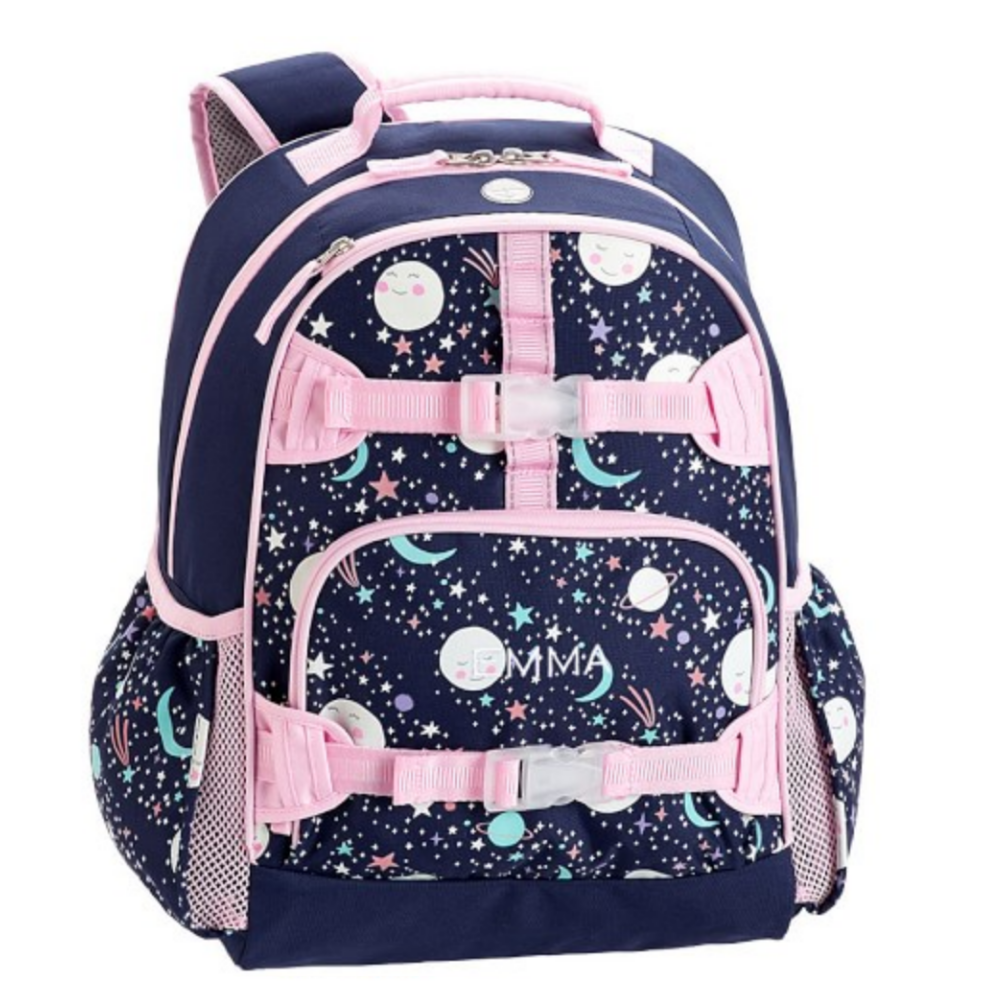 Mackenzie Pink Navy Glow-in-the-Dark Moons Backpack