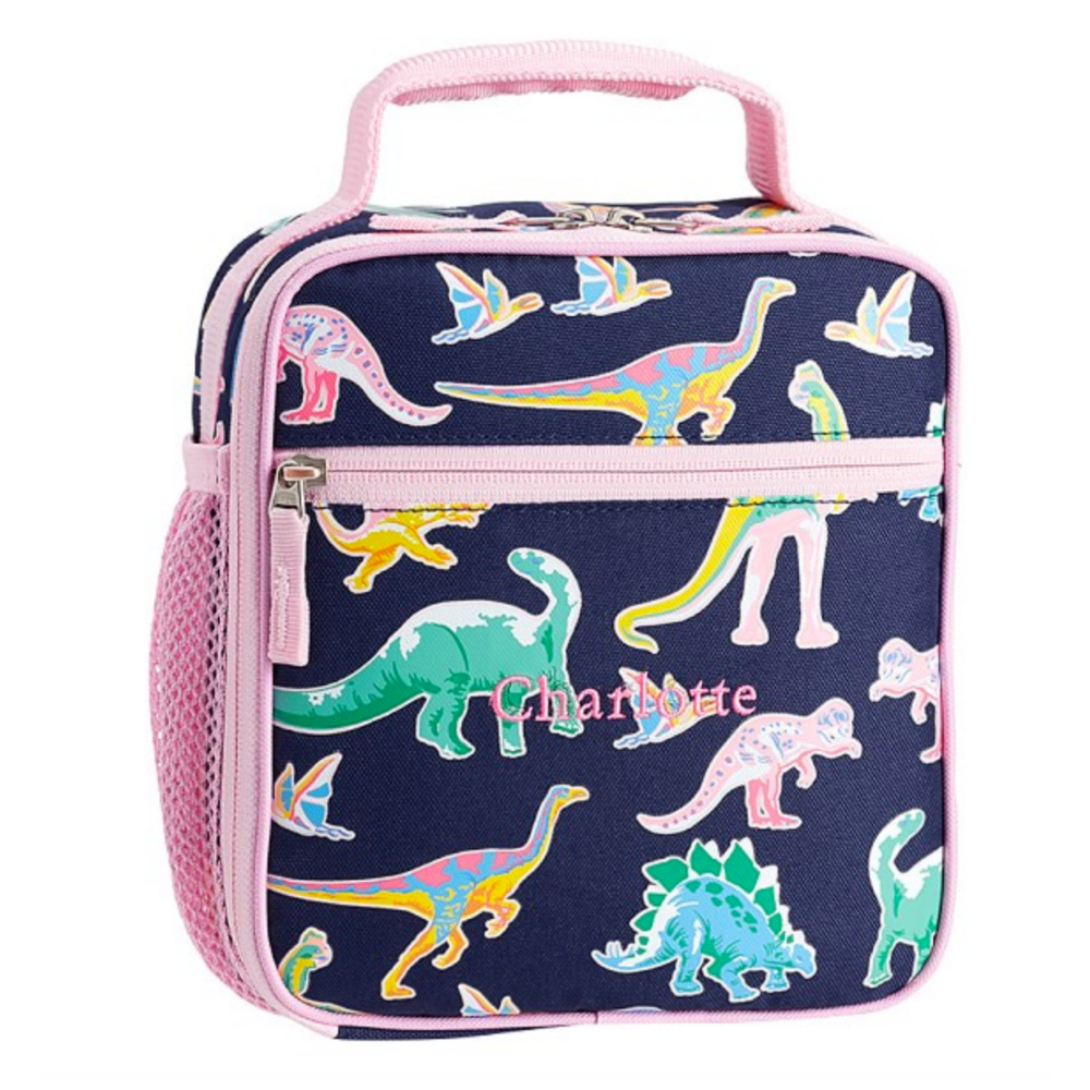 Mackenzie Pink Navy Glow-in-the-Dark Dinos Lunch Box