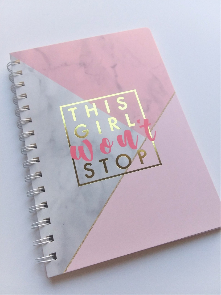 "Spiral Notebook Journal, ""This Girl Won't Stop"", Notebook, Gold Foil, empowering girls, NEW"