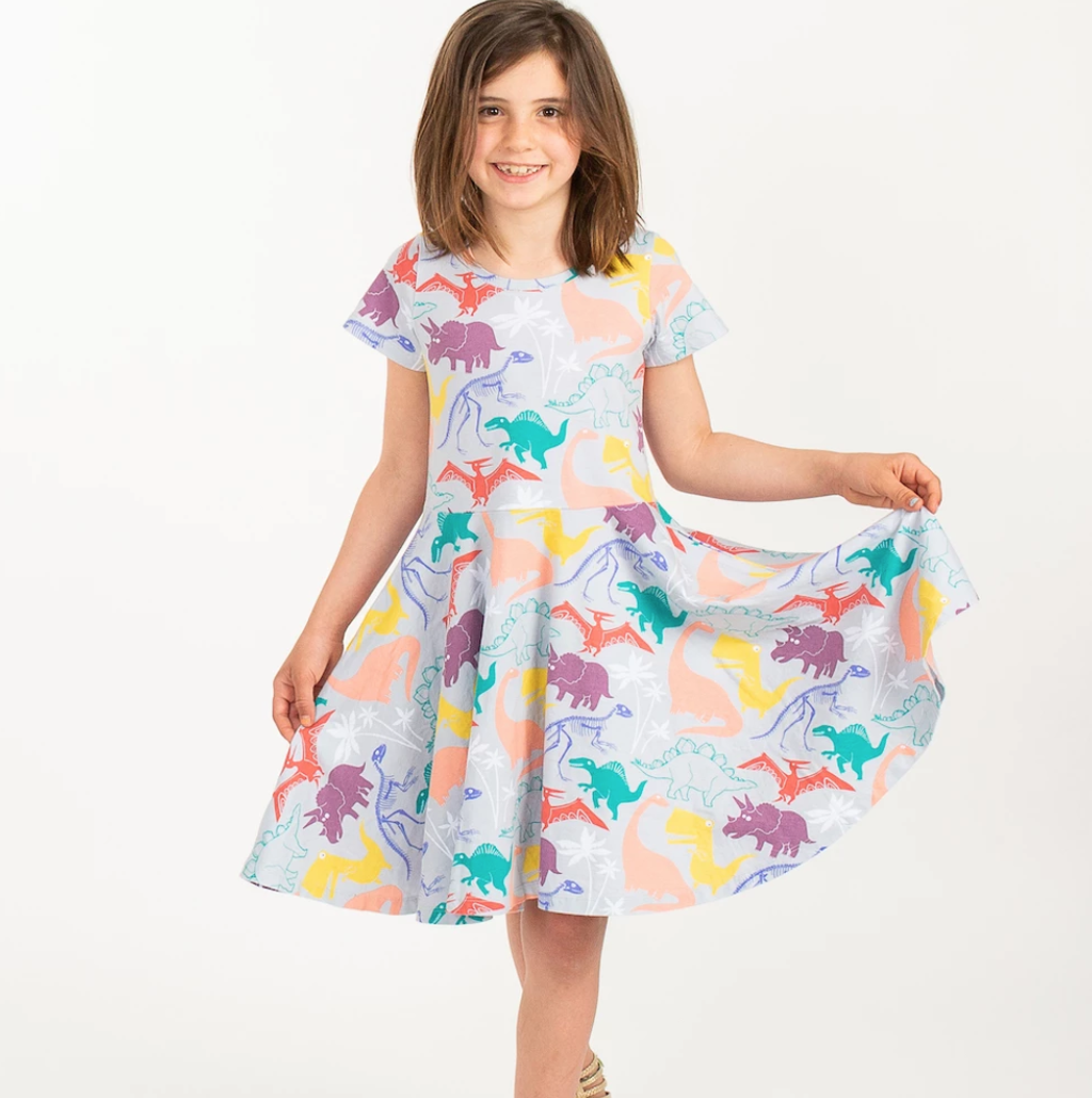 """Mesozoic Mischief� Dinosaurs Short Sleeve Super Twirler Dress"