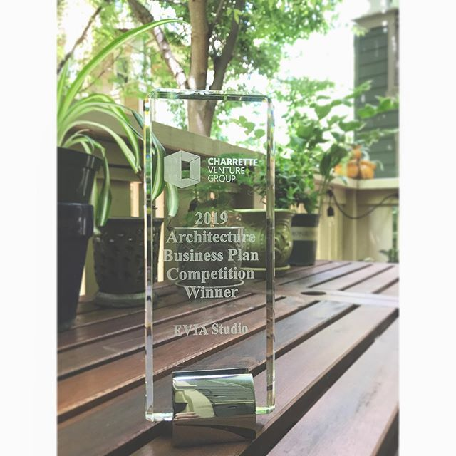 Working outside today, enjoying the birds, trees, sunshine, and this big beautiful award! Thanks again, @charrettevg! We love having this recognition on display 😊 #architecturefirm #award #businessplan  #competition