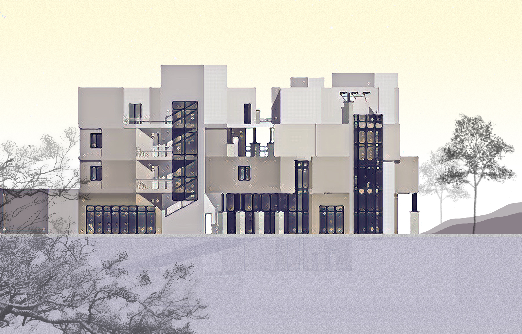 EVIA's conceptual elevation for a mid-rise multifamily development in Mountain View, CA
