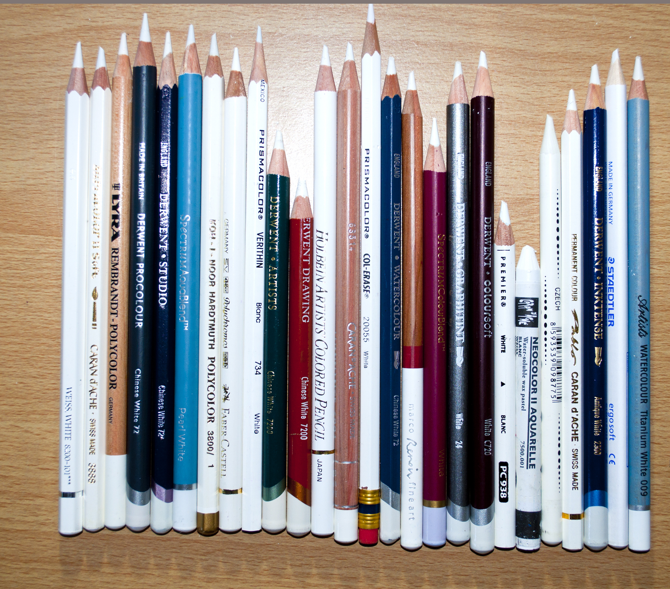 26 White Colored Pencils Used