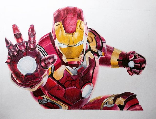 #CreateYourSuperHero I have just finished this drawing to enter the awesome @caran_dache competition. I only realised half way through the drawing that it was supposed to be an original super hero by which time it was too late. I still decided to submit the drawing anyway. I chose this pose because #Ironman is on his knees, which is were I was after my spinal injury in the Army but it has been Art that has lifted me up again. I used my @caran_dache Pablo and Luminance pencils on this and used @strathmoreart 500 Series Bristol Plate paper. #carandache #Ironman #Pablo #luminance. Good luck to everyone who got the rules correct.