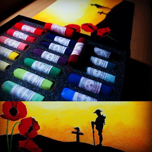 Check out this painting I completed using my @unisoncolour pastels on @cansonpaper, check out the link to so full images http://bit.ly/2iSYNh2 I know it is not Remembrance Day for another week or so, but I had the urge to do this painting and I really wanted to try and do the @unisoncolour pastels I have justice as they are simply remarkable pastels, like little colourful sticks of butter, I had to get two additional pastels from my local art store @kemblegallery, awesome staff very helpful and know their stuff. #unisoncoloursoftpastels #unisonpastels #lestweforget #cansonpastelpaper #pastels
