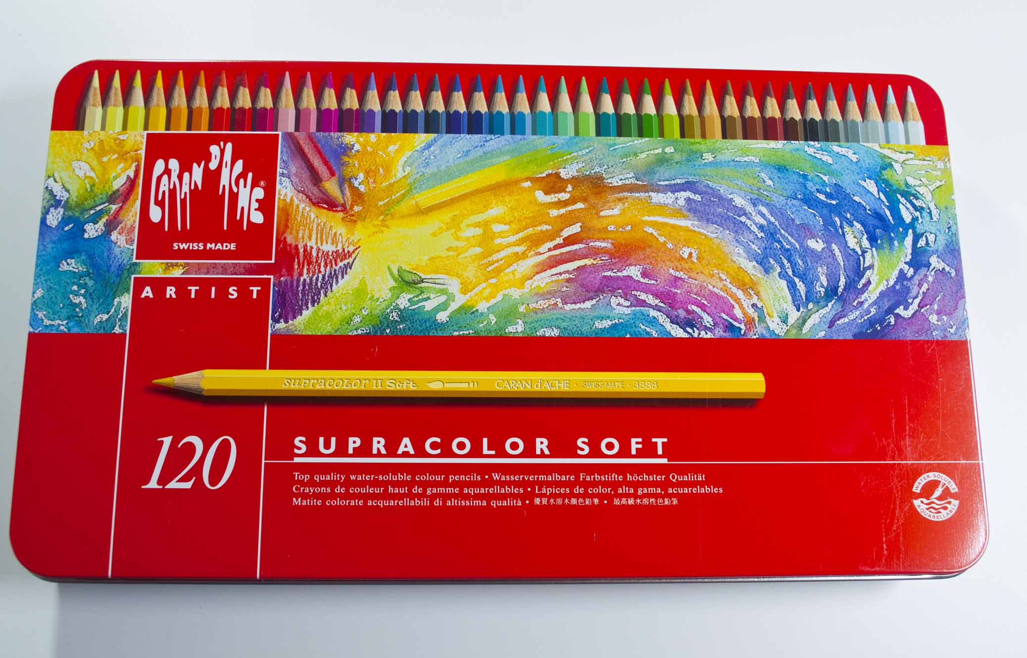 CARAN D'ACHE SUPRACOLOR SOFT TIN of 12 water soluble soft colour pencils