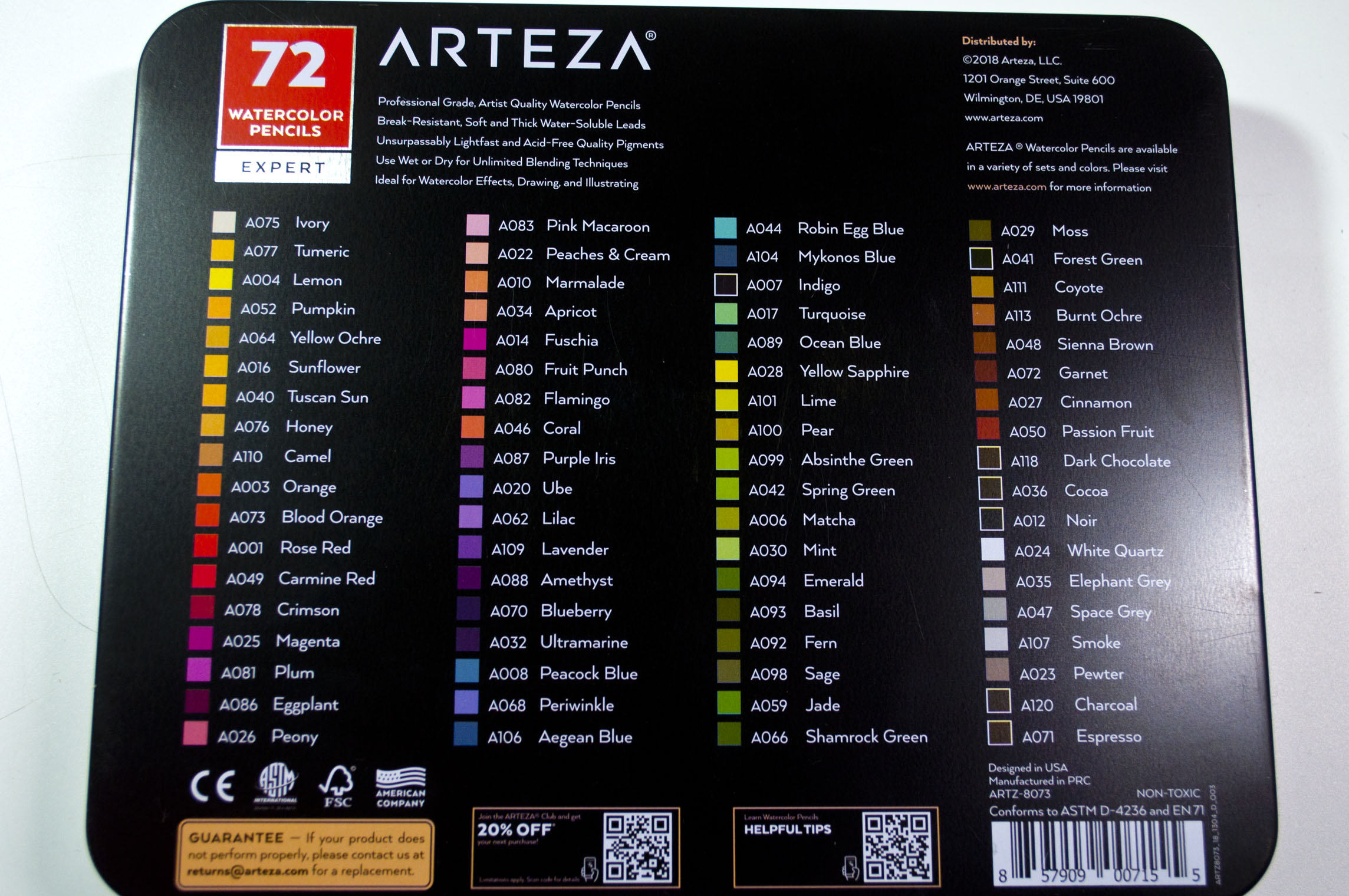 Arteza Watercolor Pencils Back of tin.jpg