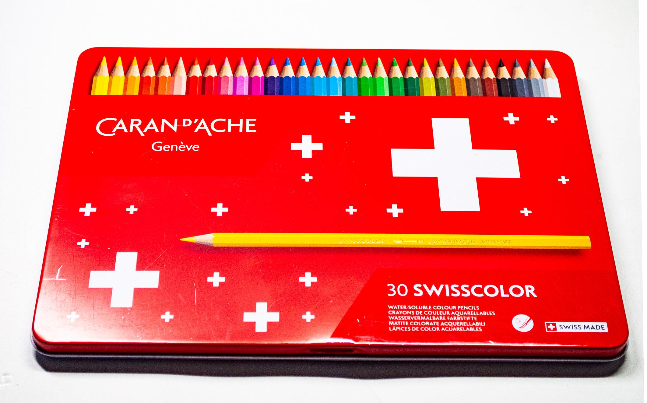 Caran D/'Ache Swisscolor Water Resistant Artist Colour Pencil Metal 12 Set Tin