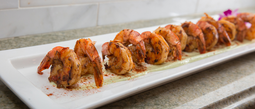Grilled paprika shrimp in an avocado-dill cream