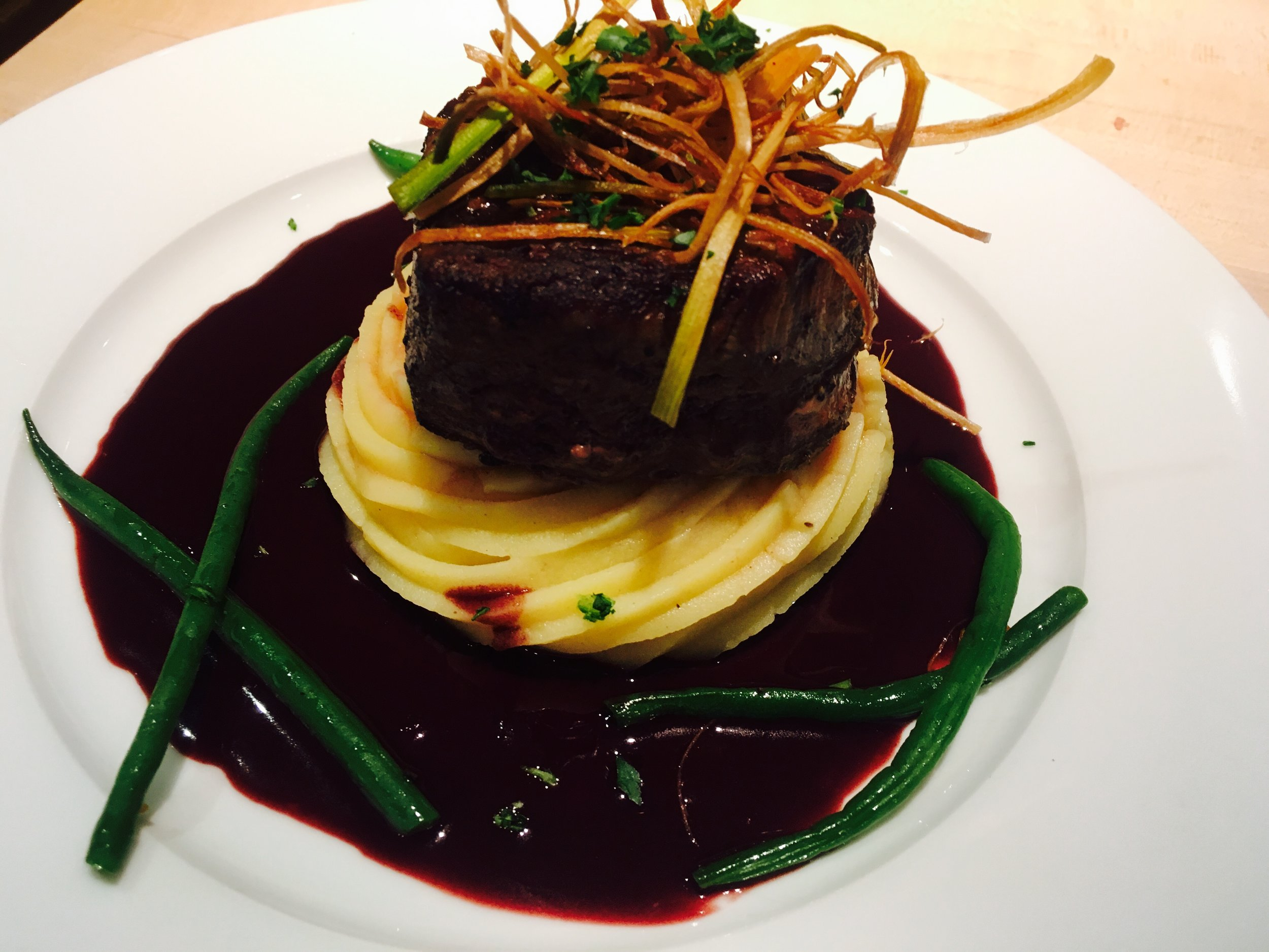 Filet Mignon, Mashed Potatoes, Haricots Verts and Red Wine Sauce