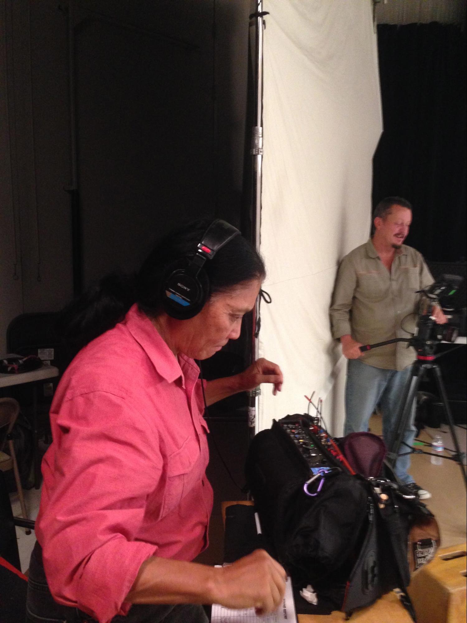 Claudia Katayanagi recording sound, Rob Humphreys DP