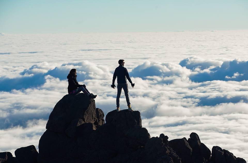 Shortly after sunrise, we were above cloud nine