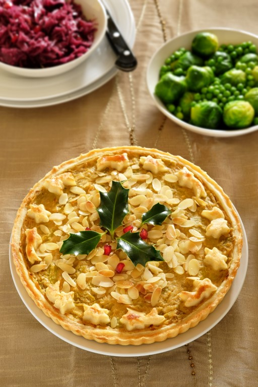 Smoky leek and almond tart - with decorative holly, don't eat that. Might scratch.