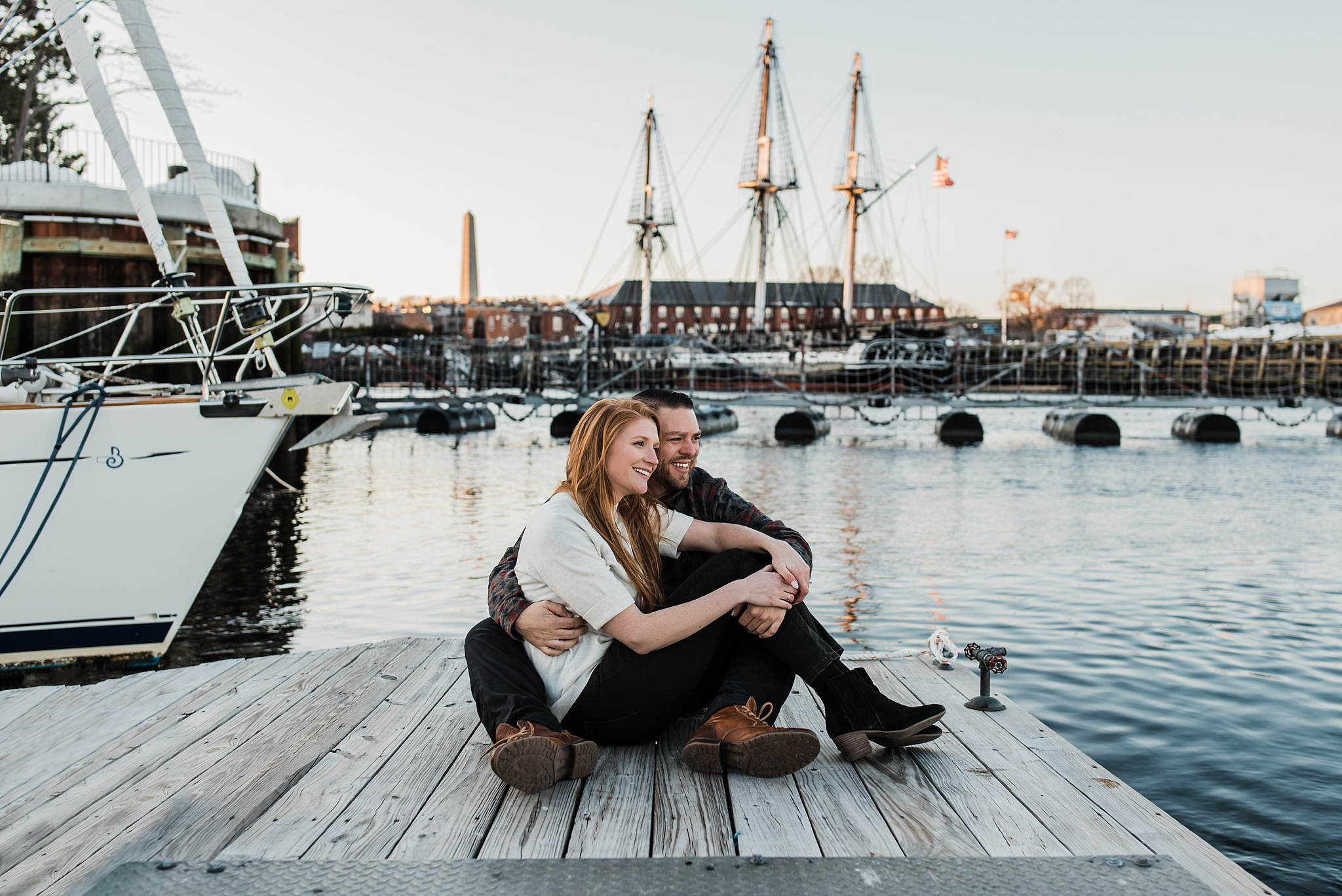engagement photo with uss constitution
