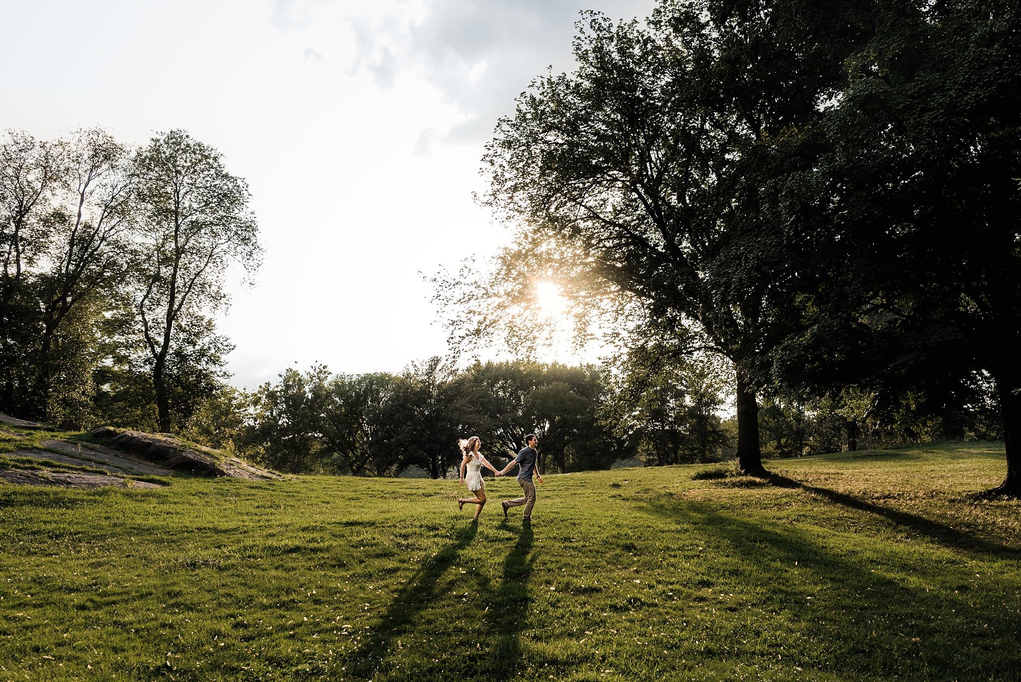 central park engagement photo