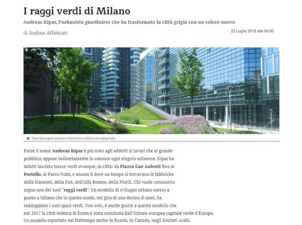 I raggi verdi di Milano