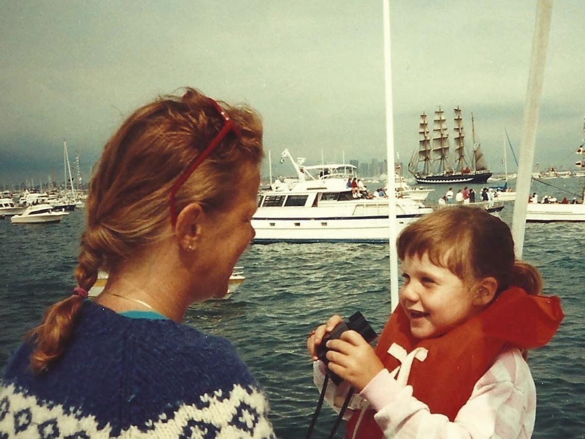 Baby Emily & Mooms. I love the ocean & boats.