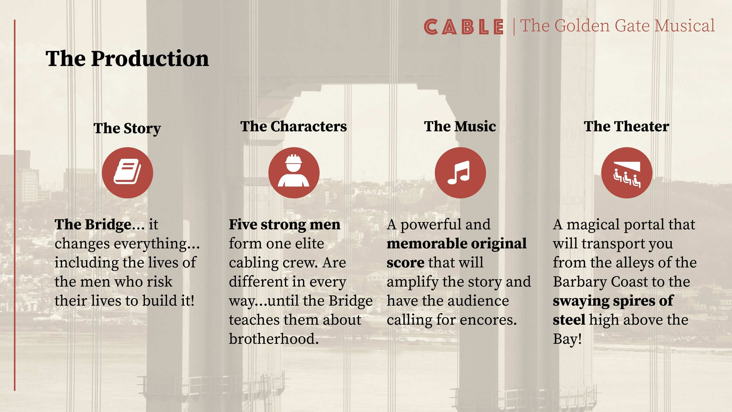 Cable, The Musical Pitch Deck   Designed for a company pitching investors for financial backing. (Presentation modified to remove sensitive information)