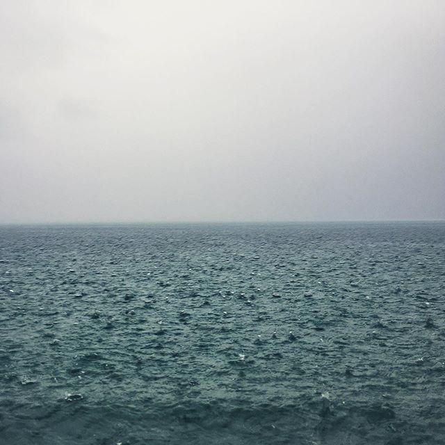 #rainy morning . . . . . . . . . . . . . . . . . . . . #sea #rain #cloudy #blue #ocean #nature #holiday #kassandra #greece #raindrops #landscape #water #grey