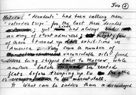 Vladimir Nabokov's notes
