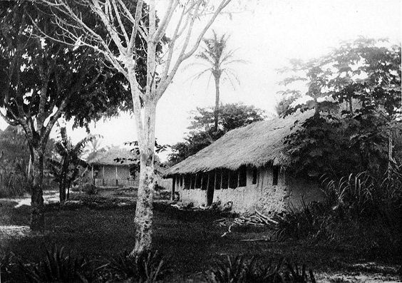 A Belgian river station on the Congo river, Belgian Congo.