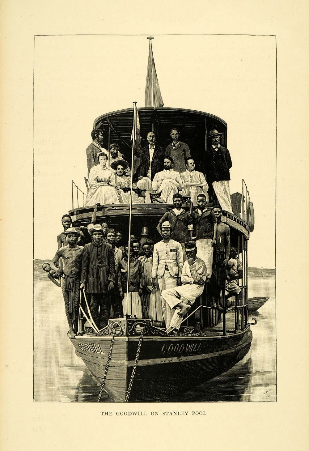 "Above: in boats like the ""Goodwill"", missionary George Grenfell explored the Congo river wilderness in the 1880s."