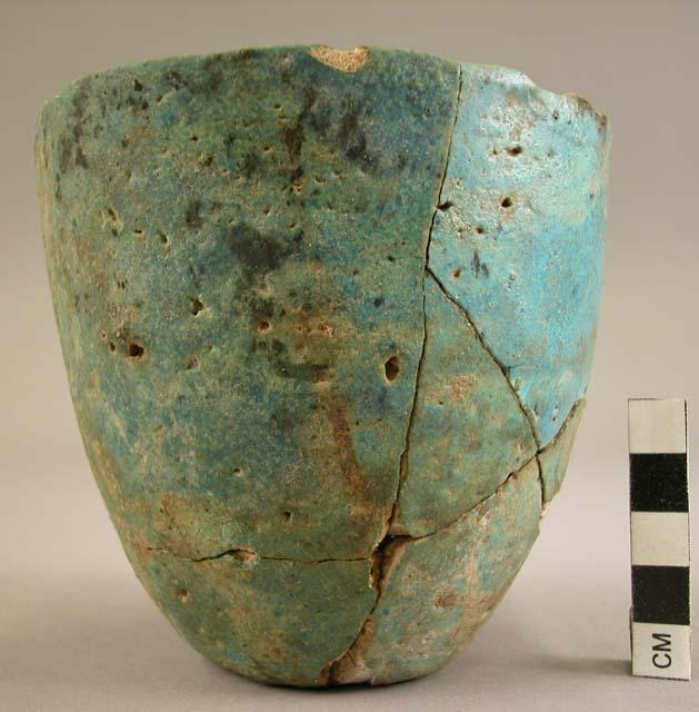 Jar with thick blue glaze found at Gammai grave site in Sudan. Date: 3,411 BC - 3,100 BC.
