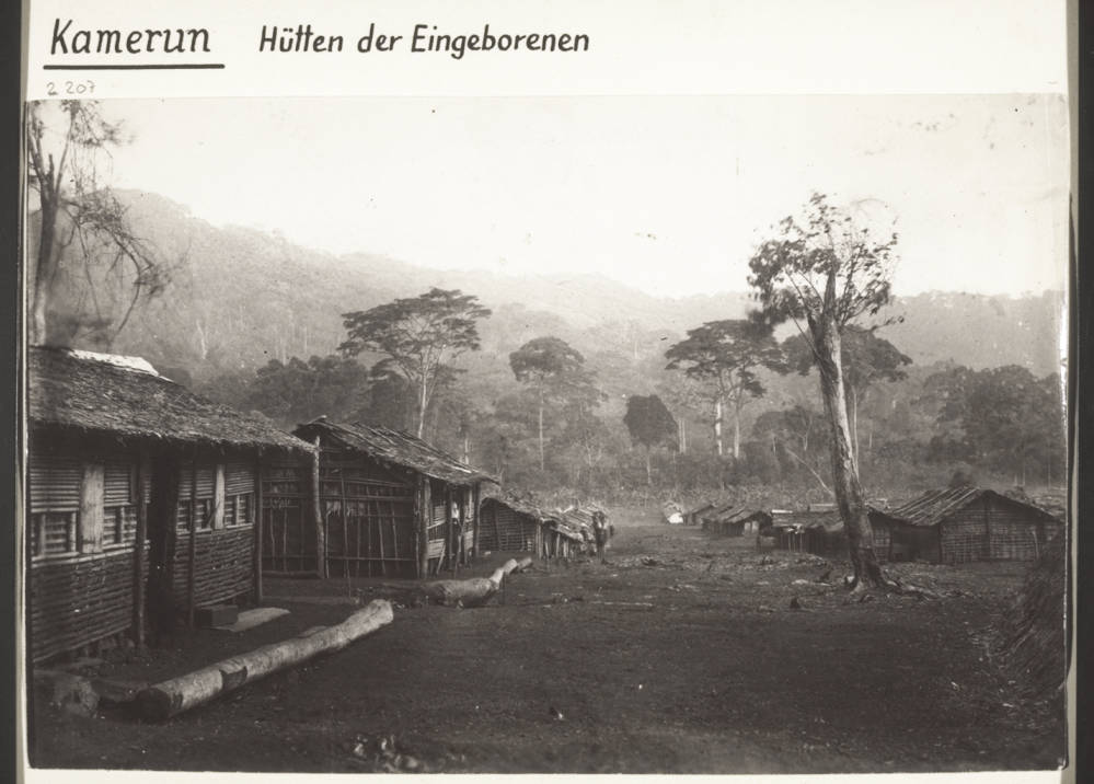 Native huts in Cameroon ca. 1860.