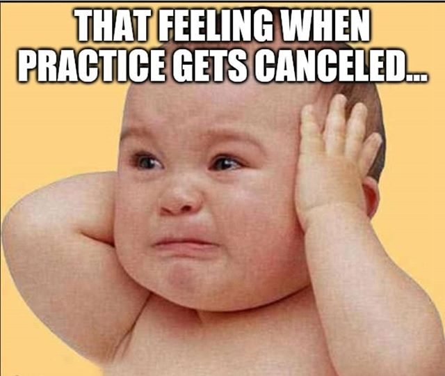 Hold back those tears! No practice on Thursday, October 3rd.  We're back at it on Sunday, October 6th!