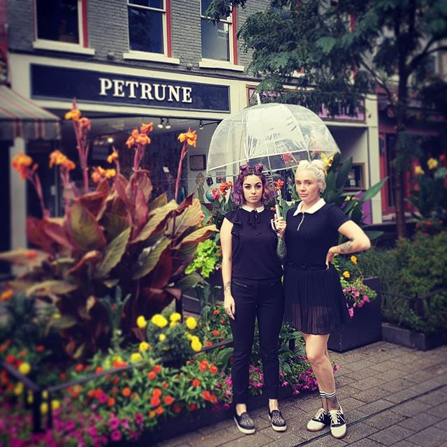 Back 2 skool lewks for spooky girls @petrune_ithacany  Hair & styling by Justine and Danielle @hareandbristle get your shop on downstairs and then pop up stairs to make your appointment. You can also book online at Hareandbristle.com . . . . . #youcantsitwithus  #backtoschool #petrunevintage  #spookygirls  #ithacany  #fashion  #stylists  #hareandbristle  #cutesalon