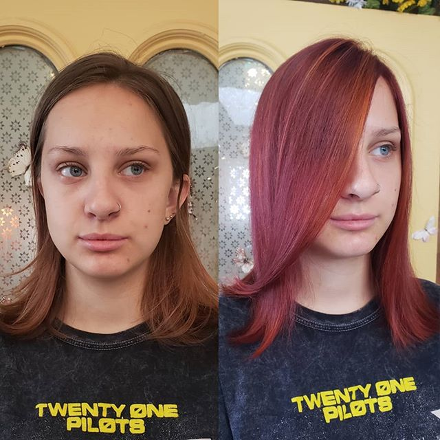What a stunning girl with the clearest blue eyes! . . . . #beforeandafter  #redhair  #hareandbristle  #ithacany  #coolgirl #backtoschool  #redhead  #velveteen