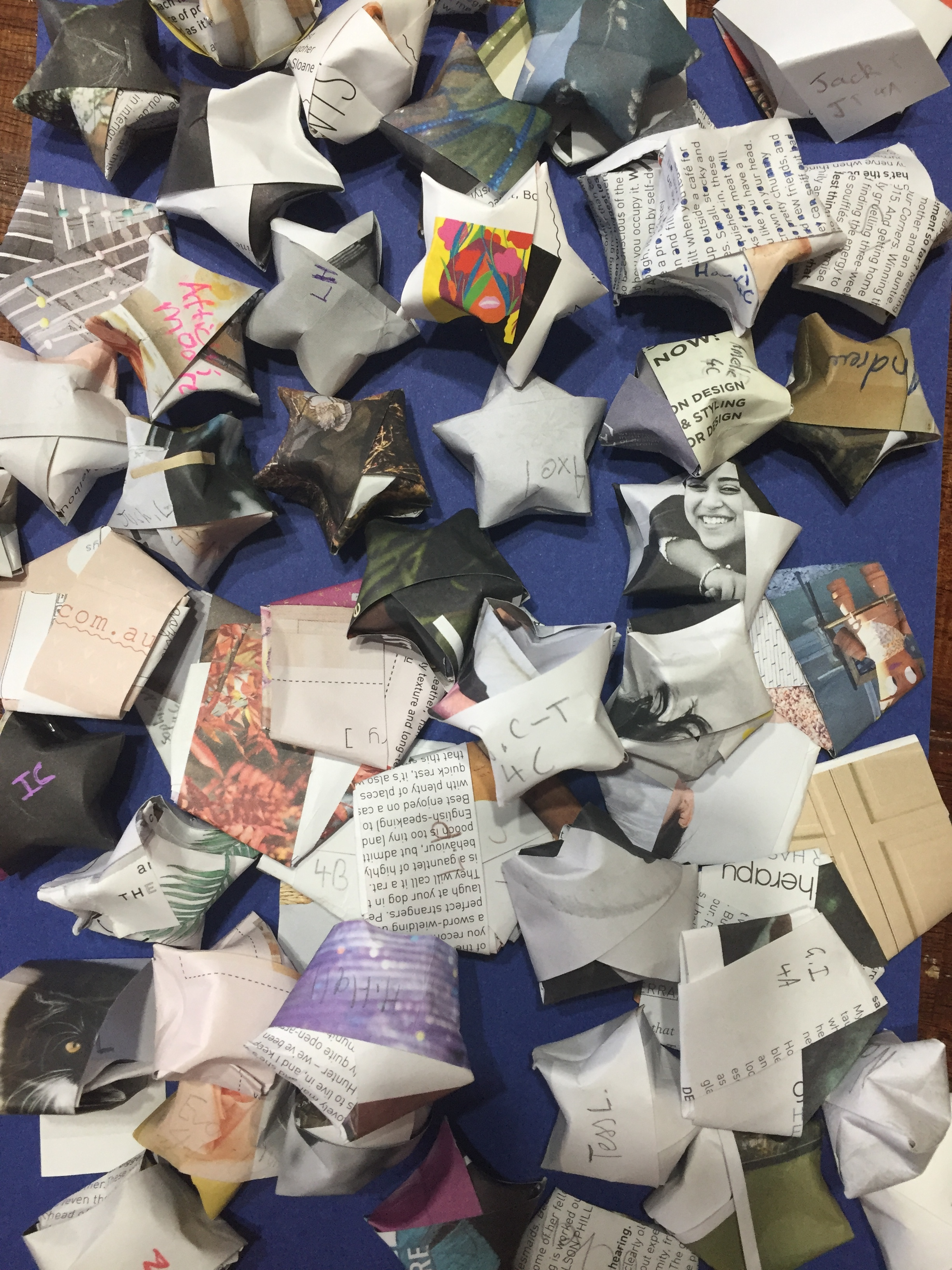 Origami lucky stars made by Year 4 students yesterday using recycled magazine paper.